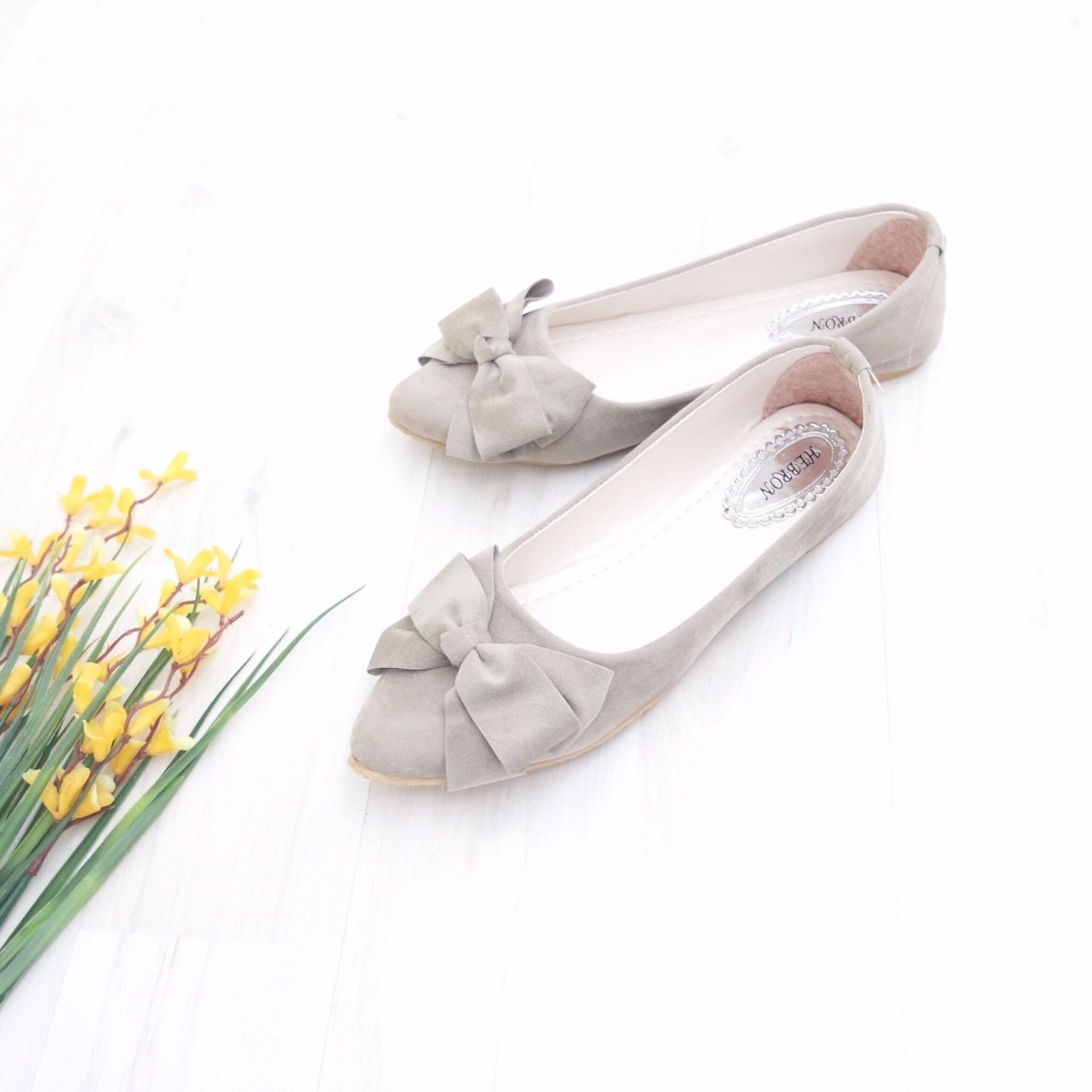 Flash Sale KelinciMadu-Mess Ribbon Flatshoes-Grey