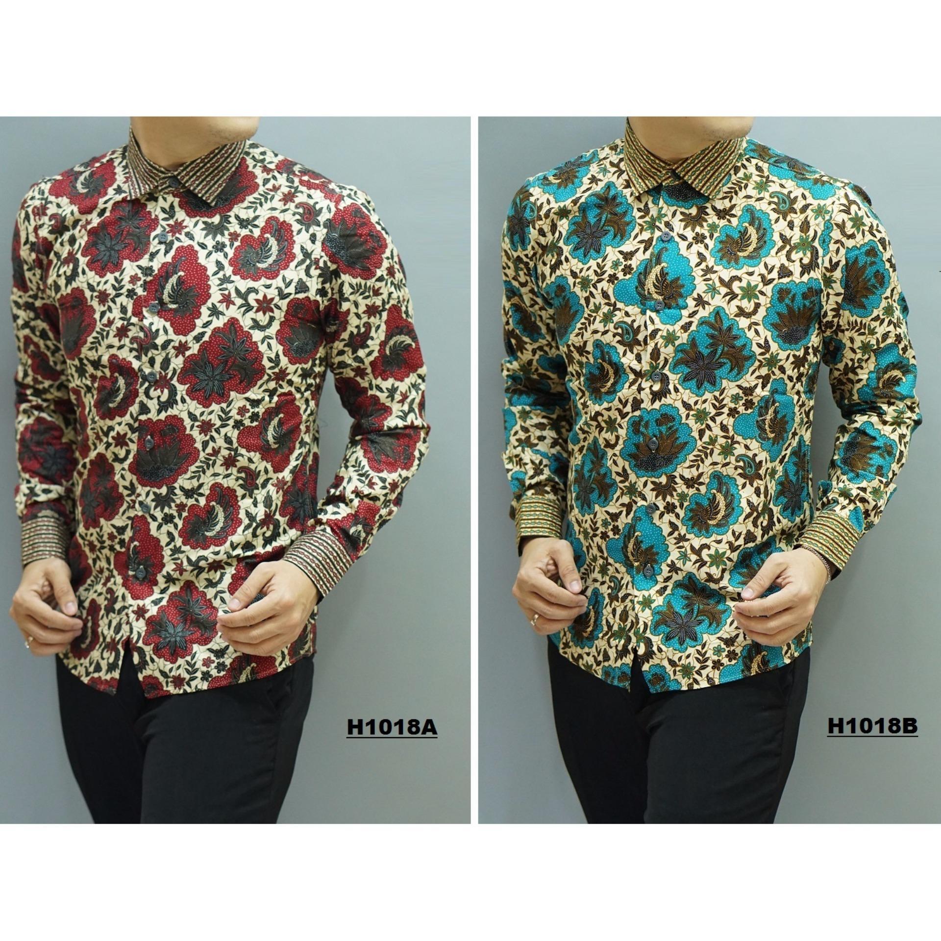 Kemeja Batik Slimfit Pria H1018A Red Kombinasi Muslim Koko Jeans Lazada Indonesia