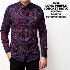 Kemeja Batik Songket Pria Purple Panjang Slimfit Kerja Kantor Murah