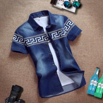Kemeja Jeans Pria Model Tipis Lengan Pendek Trendi Versi Korea (Great Wall- biru tua