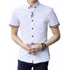 Kemura-Kemeja Model Terbaru White Comby Short Sleeve