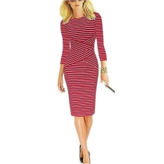 Kenancy Womens 3 4 Sleeve Striped Wear To Work Business CocktailPencil Dress Red .