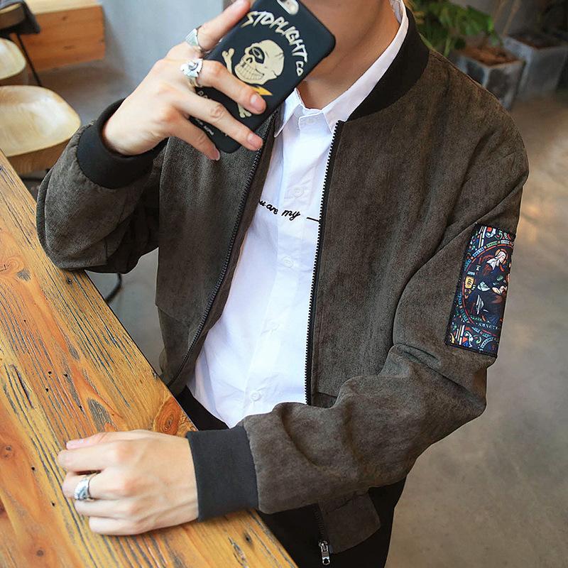Kerah pasang versi Korea dari musim gugur baru pemuda jaket jaket pria (Tentara hijau)