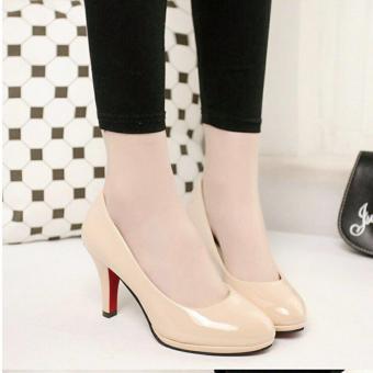 Gambar Khalista Collections Heels Women Glossy Roundtoe Flatform Pantofel Cream