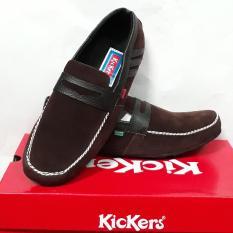Kickers selop santai kasual sandal murah gaya pria cowok BROWN