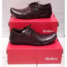 Kickers sepatu pria Kulit Asli model KR 015 Coklat Tua