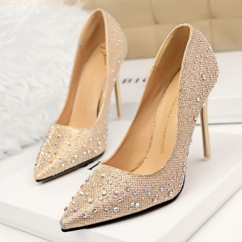 KOKO Fashion High-Heeled Shoes Woman Pumps Thin Heels Crystal High Heels Pointed Toe Closed Toe Ladies Wedding Shoes Women Shoes (Gold)