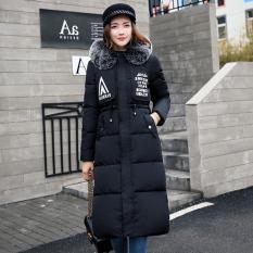 Korea Fashion Style bagian panjang lutut musim dingin empuk bawah mantel (Hitam)