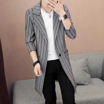 Jual Korea Fashion Style Bagian Panjang Musim Gugur Baru Sweter Kardigan Pria Jaket Jaket Abu