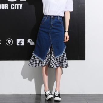 Korea Fashion Style bagian panjang perempuan baru rok denim rok (Biru tua)