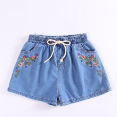 Korea Fashion Style baru Burr kasual celana Celana Pendek Denim (Bordir celana pendek)