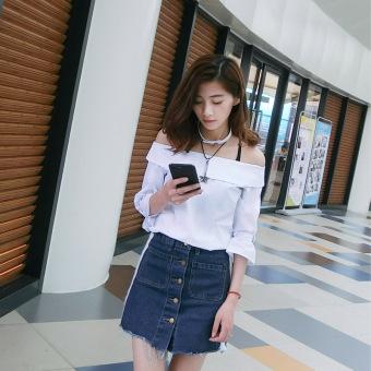 Periksa Peringkat Korea Fashion Style baru ms. style bottoming blus kemeja (Biru bergaris)