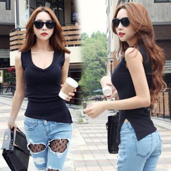 Pencari Harga Korea Fashion Style baru Slim adalah tanpa lengan tipis Vest ( Hitam) (Hitam) Harga Termurah