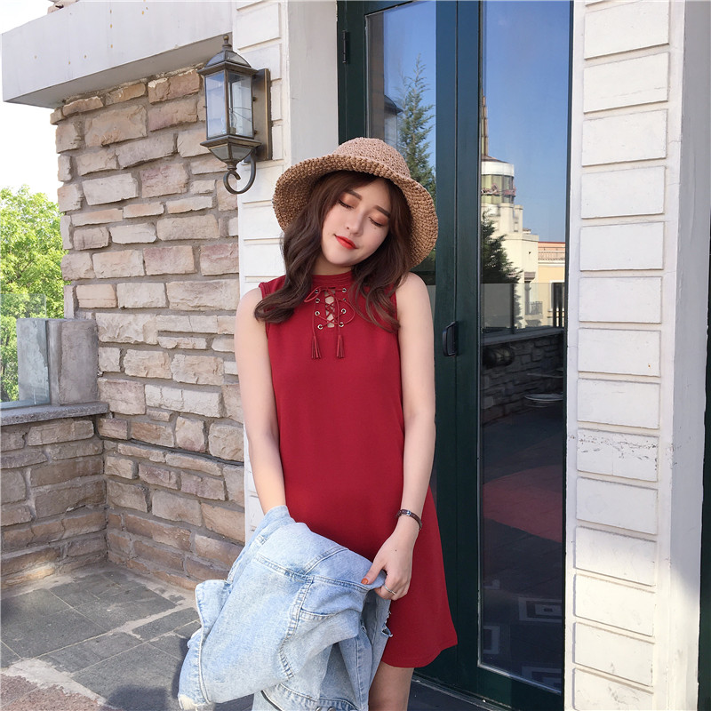 Puff Lengan Panjang Dan Panjang Bagian Slim Bottoming Rok Korea Source · Korea Fashion Style baru style Cooljie tanpa lengan gaun Merah