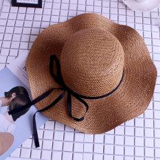 Korea Fashion Style Cooljie tepi gelombang topi topi pantai topi jerami  (PARK S) b758eb5808
