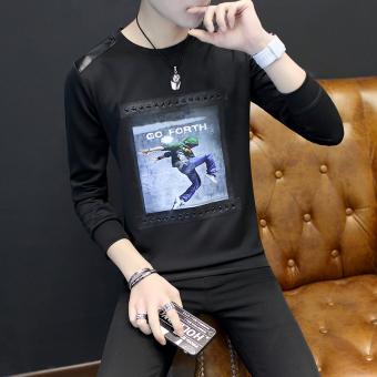 Korea Fashion Style ditambah beludru laki-laki luar tebal lengan panjang t-shirt kemeja
