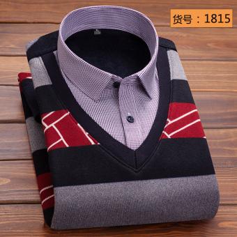 Korea Fashion Style ditambah beludru pria kemeja lengan panjang yang hangat baju kemeja (1815)
