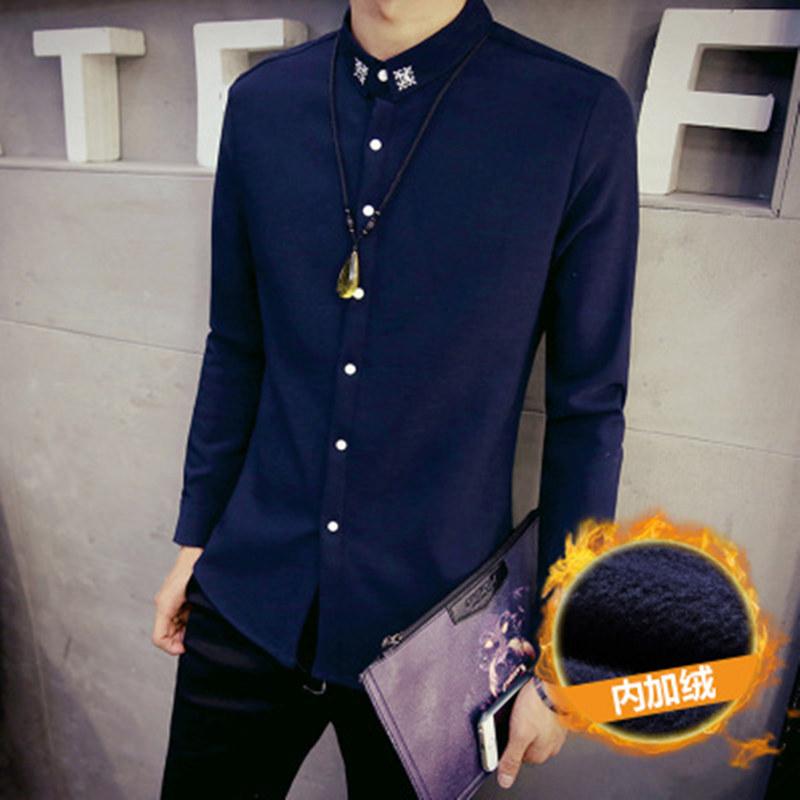 Korea Fashion Style ditambah beludru tebal hangat kemeja lengan panjang baju kemeja (Biru tua (