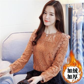 Korea Fashion Style ditambah beludru wanita yang hangat lengan panjang t-shirt bottoming kemeja (