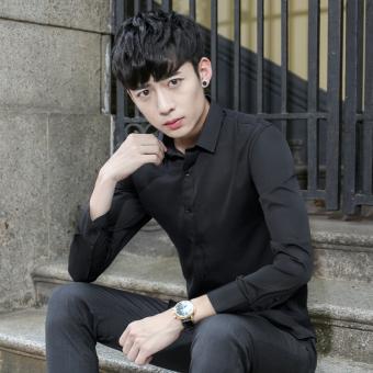 Korea Fashion Style ditambah beludru warna solid Slim kemeja putih pria kemeja lengan panjang (Hitam