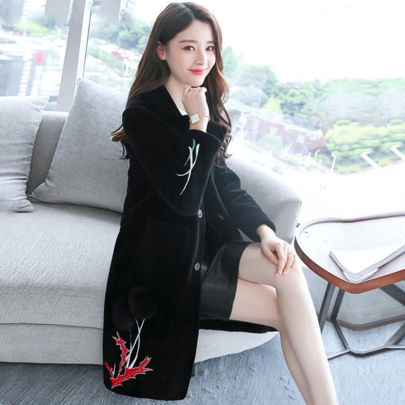 Korea Fashion Style domba geser perempuan musim dingin bulu jas jaket parka (Hitam)
