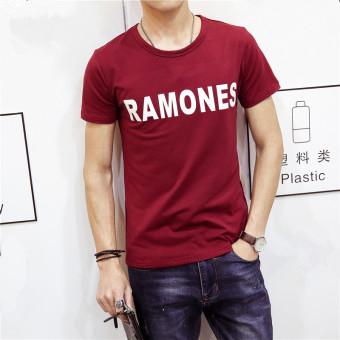 Jual Baru Pria Lengan Pendek T Shirt Merah Anggur Di Online Store