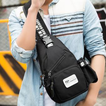 Korea Fashion Style kanvas pria baru tas dada (Hitam Hubungi penjual kerah kupon)