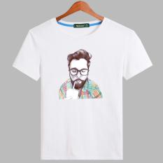 Korea Fashion Style Katun Pria Lengan Pendek T-shirt (Putih-kemeja Coke laki