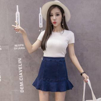 Korea Fashion Style Koboi Yard Besar Pinggang Tinggi Rok (Biru)