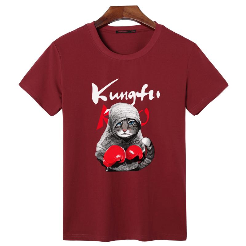 Flash Sale Korea Fashion Style kung fu tinju kucing t-shirt (Anggur merah t ae0827b0aa