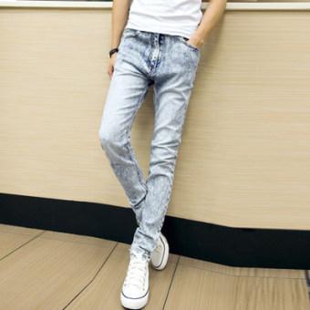 Korea Fashion Style Laki-laki Keelastikan Remaja Santai All-match Celana Panjang Celana Jeans