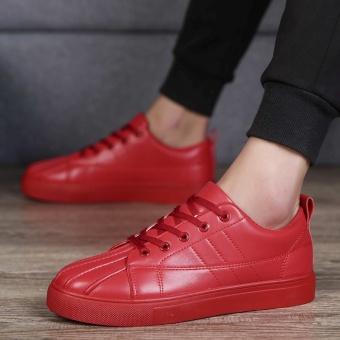 Korea Fashion Style laki-laki sepatu remaja sepatu putih pria sepatu kebugaran sepatu kasual (Merah)