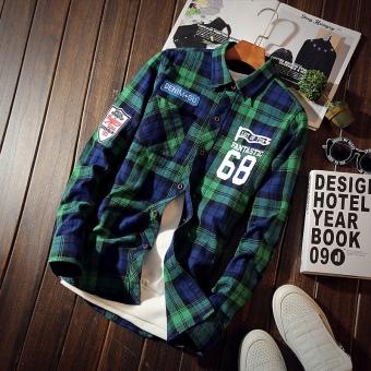 Korea Fashion Style laki-laki siswa muda kemeja kotak-kotak baju kemeja (CS66