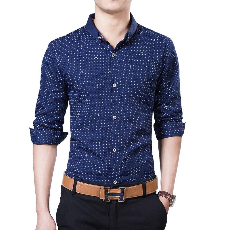 Korea Fashion Style lengan panjang Slim shirt cetak kemeja pria (51 bagian tipis biru tua