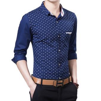 Jual Korea Fashion Style Lengan Panjang Slim Shirt Cetak Kemeja Pria 57 Biru Tua Bagian Tipis