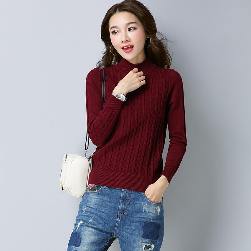 Korea Fashion Style merajut warna solid Slim bottoming kemeja tinggi leher sweater (CM2815 merah anggur