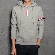 Korea Fashion Style musim gugur remaja berkerudung pakaian pria hoodie pullover sweater (Abu-abu