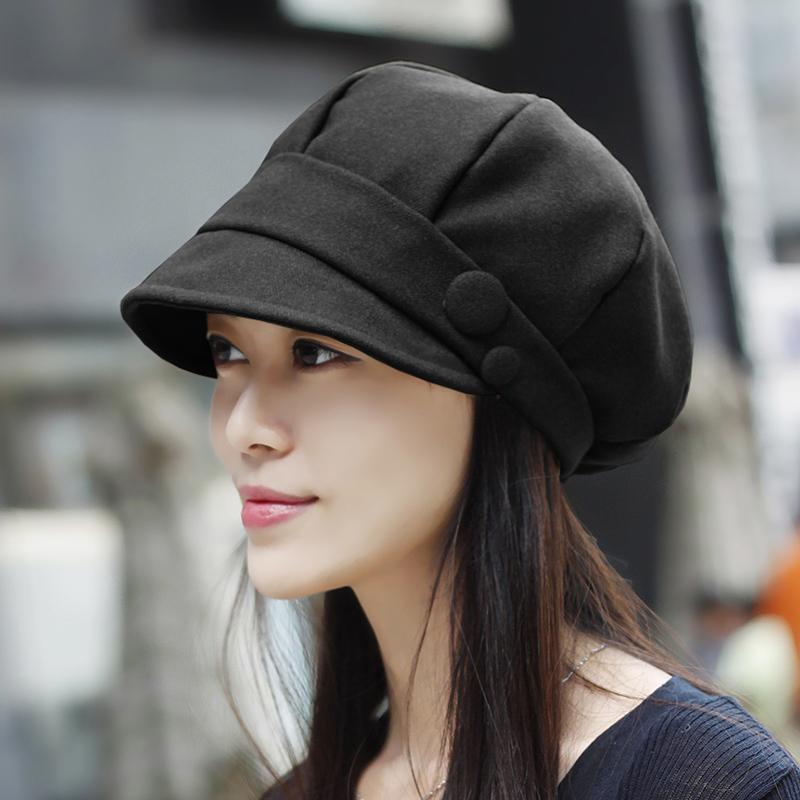 Korea Fashion Style Musim Semi Dan Musim Gugur Wanita Pelukis Topi Topi Baret (Tombol hitam