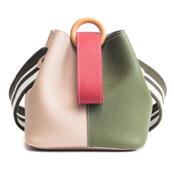 Korea Fashion Style Perempuan Baru Memukul Warna Tas Besar Kecil Tas Bucket (Khaki)