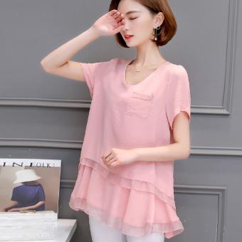 Daftar Harga Korea Fashion Style perempuan baru palsu dua kemeja sifon  longgar t-shirt ( 81c1ba578b