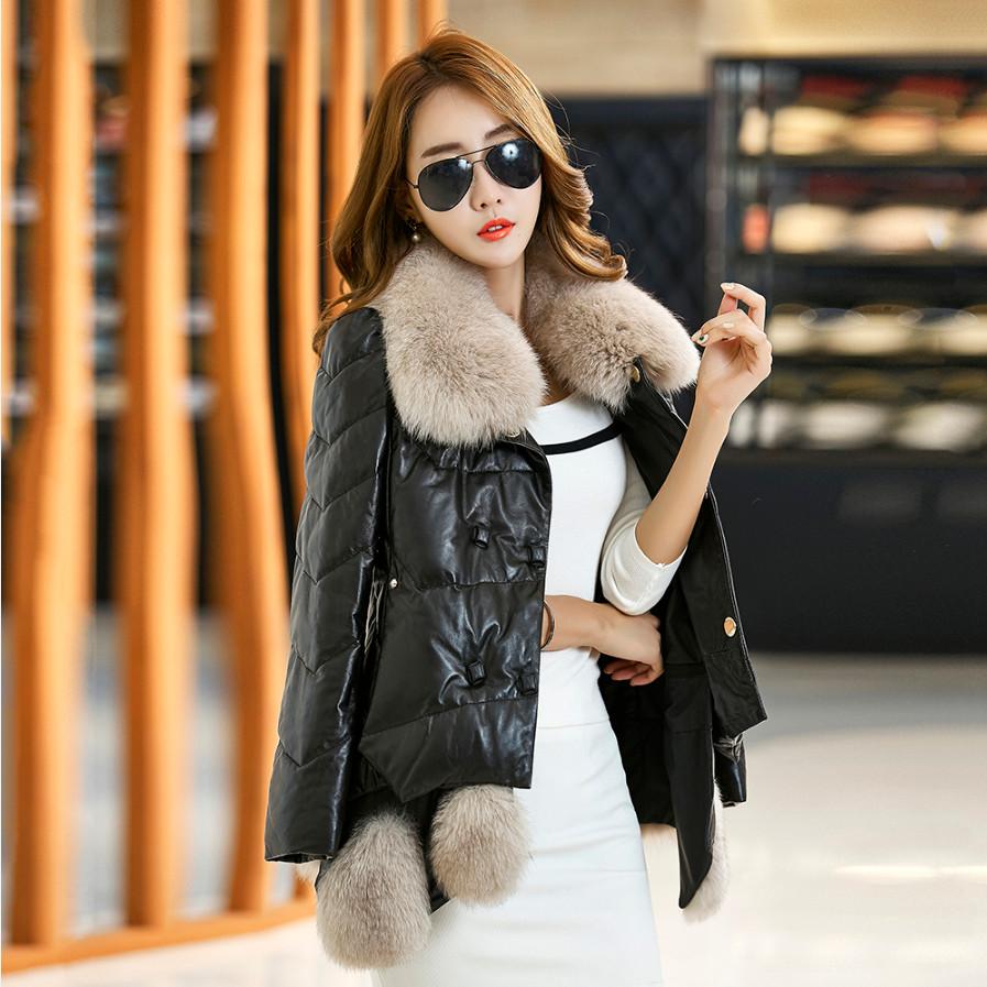 Korea Fashion Style perempuan imitasi bulu rubah kerah bulu jas kulit baru  (Hitam) 29e51d8ee2