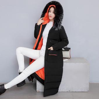 Harga Terendah Korea Fashion Style perempuan musim dingin baru Nagymaros kerah jas mantel (Hitam)