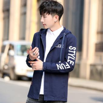 Jual Korea Fashion Style Pria Musim Gugur Dan Musim Dingin Baru Slim Jaket Biru Tua Di Lazada