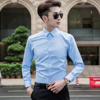 Jual Korea Fashion Style Pria Slim Kemeja Warna Solid Baju Kemeja Biru Di