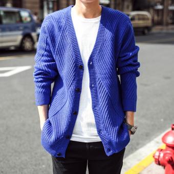 Periksa Peringkat Korea Fashion Style Pria Slim merajut kardigan cardigan sweater (Biru) Price Checker