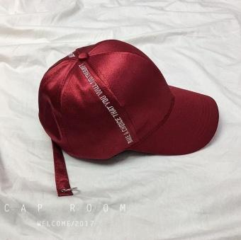 Gambar Korea Fashion Style satin musim panas topi baseball visor topi huruf  topi baseball (Merah f76301ccfc