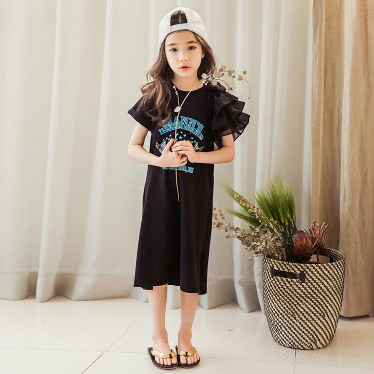 Korea Fashion Style sifon kapas baru lengan pendek t-shirt dress anak perempuan gaun (