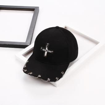 Harga Termurah Korea Fashion Style siswa perempuan musim panas matahari topi topi topi (Lintas rantai hitam) Harga Termurah