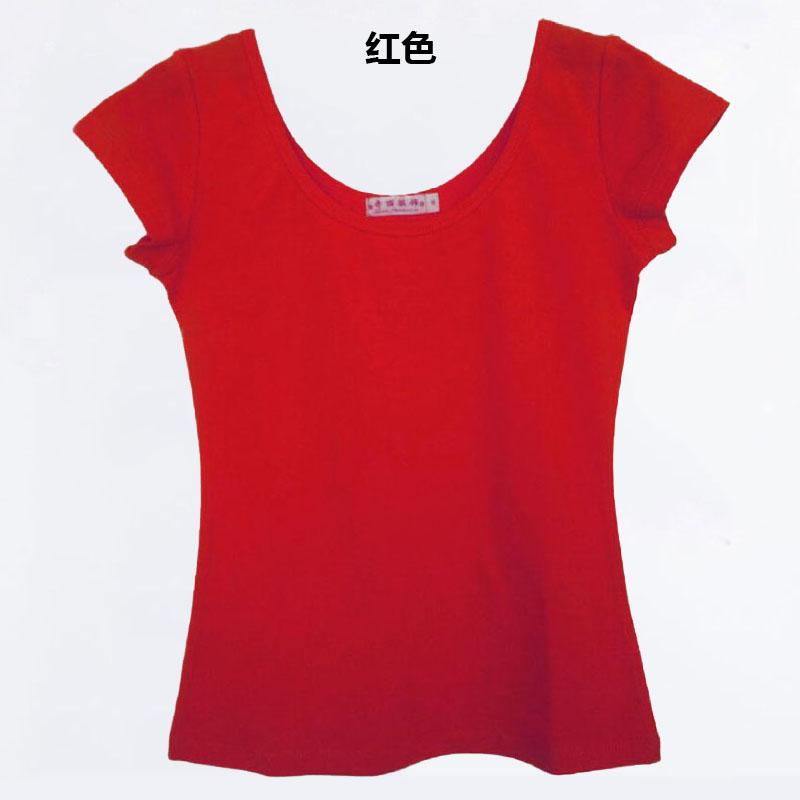 ... Korea Fashion Style Slim besar kerah liar bottoming kemeja lengan pendek t shirt Merah