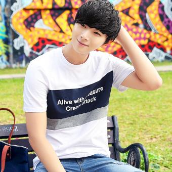 Korea Fashion Style Slim leher bulat pemuda kemeja kasual t-shirt (9209 putih dan